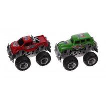 monstertrucks pullback rood/groen 2 stuks