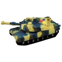 militaire tank met licht en geluid 17 cm groen/ geel