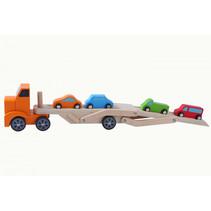 autotransporter 31 cm hout oranje/oranje