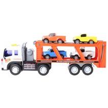 Transporter Truck met geluid oranje/wit 38 cm