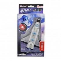 space shuttle met licht en geluid wit 14 cm