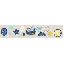 muurdecoratie 'twinkle little star' blauw/grijs 12 stuks