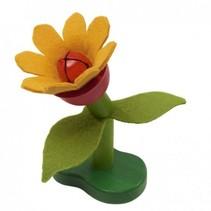 bloem hout groen/oranje