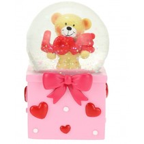 sneeuwbol met beertje roze 7x12 cm