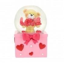sneeuwbol met beertje XL rood/roze 9 x 15 cm