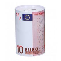 spaarpot 10 euro 12,5 x 8 cm wit/roze