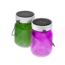 licht potten Feeën 14 cm glas paars/groen
