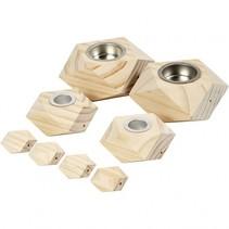 houten kaarsenhouders 2/3,5/5 cm blank 8 stuks