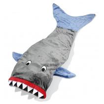 deken haaienstaart polyester grijs/ blauw