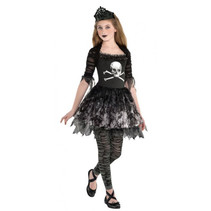 kostuum Prima Zomberina meisjes grijs/zwart 3-delig