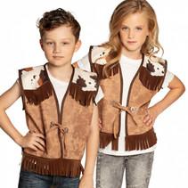 vest Western junior polyester bruin