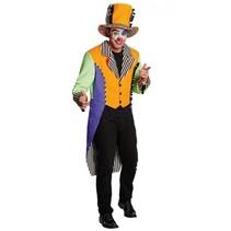 kostuum Clown Neon oranje/paars heren