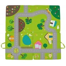 verkeerskleed dorp 100 x 100 x 4 cm groen