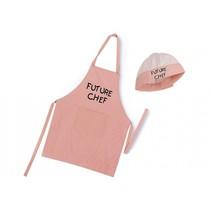 keukenschort met koksmuts Future Chef roze
