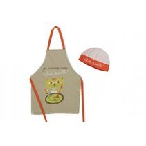 keukenschort met koksmuts je cuisime avec beige/oranje