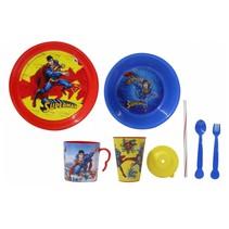 serviesset Superman jongens rood/blauw 8-delig
