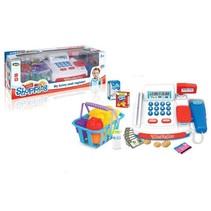 speelgoedkassa met boodschappen en winkelmand 22 cm blauw