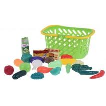 winkelmandje met speelgoedeten 17-delig groen