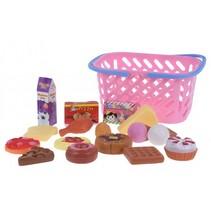 winkelmandje met speelgoedeten 17-delig roze