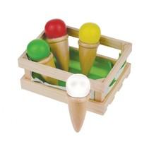 houten speelgoedijsjes 4-delig