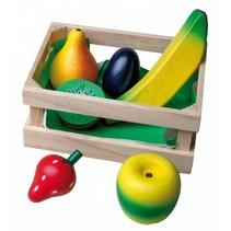 Houten krat met fruit 7-delig