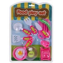 speelgoedetenset spiegelei roze/wit 10-delig