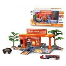 tankstation met voertuigen oranje 7-delig