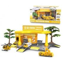 tankstation met voertuigen geel 7-delig