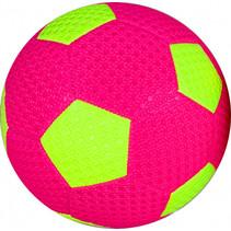 minivoetbal 15 cm roze/geel
