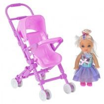 pop met poppenwagen 10 cm roze/lila