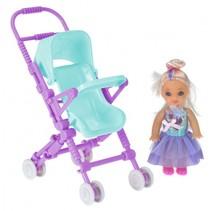 pop met poppenwagen 10 cm lichtblauw/paars