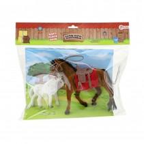 paarden bruin/wit 2 stuks