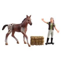 Country Life paarden verzorgingset bruin/rood 10,5 cm
