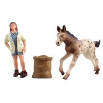 Country Life paarden verzorgingset bruin/wit 10,5 cm