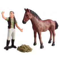 Country Life paarden verzorgingset rood/bruin 10,5 cm