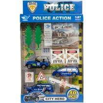 politieset 10-delig o.a. politiejeep