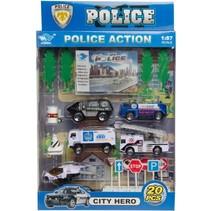 politieset 20-delig o.a. Swat-bus