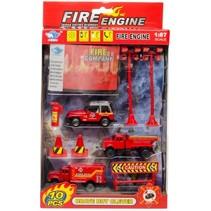 brandweerset 10-delig o.a. brandweerjeep