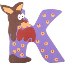alfabet Dieren letter K hout 8 cm