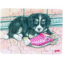Puzzel Babydieren: Hond + Schoen 24-Delig
