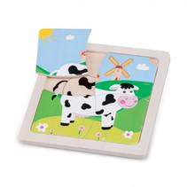 mini puzzel koe junior 15 cm hout 5-delig