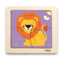 houten legpuzzel leeuw 15 cm 4 stukjes multicolor