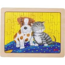 houten legpuzzel Hond 19 x 14,5 cm 24 stukjes