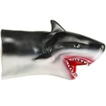 handpop haai zwart/wit 17 cm