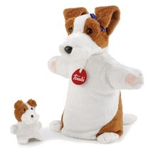 hand- en vingerpop hond wit/ bruin 26 cm