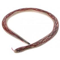 houten slang 70 cm beige/rood
