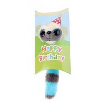 knuffel in geschenkverpakking Happy Birthday 9 cm blauw