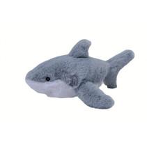 knuffel witte haai Ecokins Mini junior 20 cm pluche wit/blauw