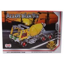 bouwdoos Cementwagen metaal zilver/geel 112-delig