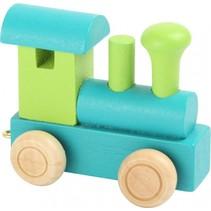 locomotief hout groen/blauw 7 x 3 x 5,5 cm